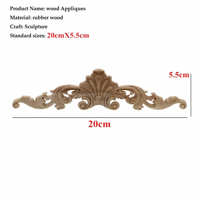 Woodcarving Furniture Vintage Home Decor Garden Decoration Maison Accessories Solid Wood Applique Carved Flower Piece Miniature