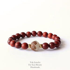 TALE Design Natural Red Sanders Wood Beads White Bodhi seed Carved Lotus Flower Beads Bracelet For Women Unique Jewelry