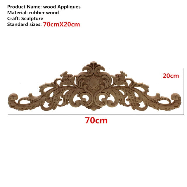 Rectangle Carving Natural Wood Appliques For Furniture Cabinet Unpainted Wooden Mouldings Decal Vintage Home Decor Decorative
