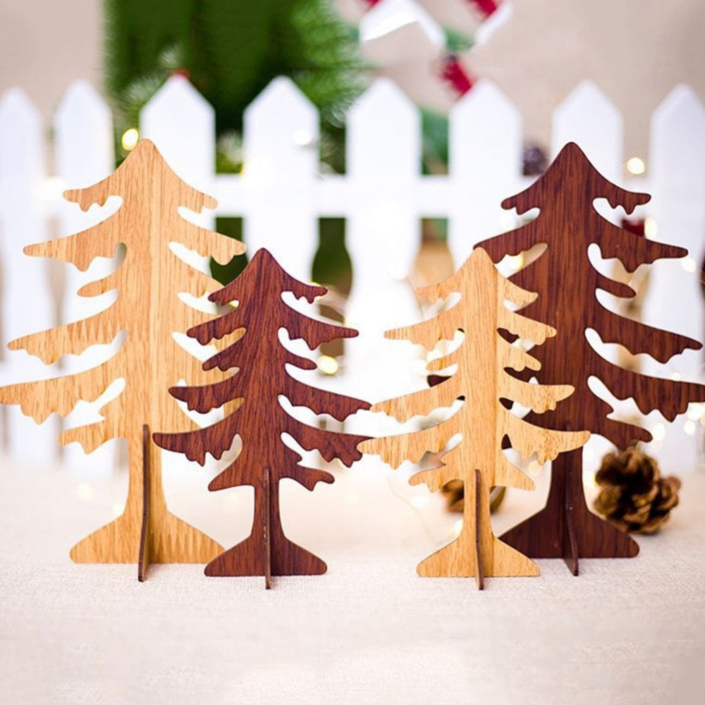 Christmas Decorations Creative Carving Christmas Tree Ornaments Wooden Christmas Table Decoration For Home Bars Shopping Malls