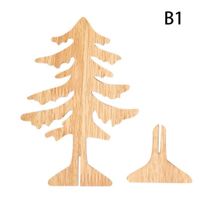 Wood Christmas Tree.Christmas Decorations Creative Carving Christmas Tree Ornaments Wooden Christmas Table Decoration For Home Bars Shopping Malls
