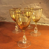 Gilt Amber Wine Glass Set