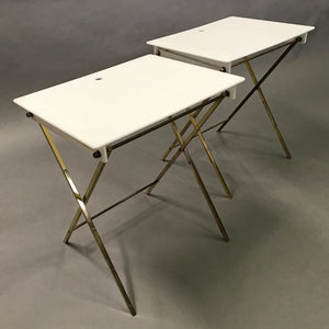 Lucite And Brass Folding Tray Tables By Charles Hollis Jones