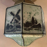 Hand-Stenciled Flush Mount Light