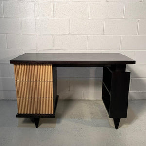 American of Martinsville Faux Bamboo Mahogany Vanity Desk