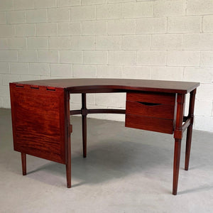 Mid Century Modern Crescent Shape Drop Leaf Desk