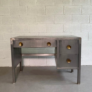 Machine-Age Brushed Steel Desk By Norman Bel Geddes