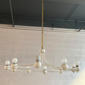Mid Century Modern Circular Wrought Iron Multi-Bulb Chandelier