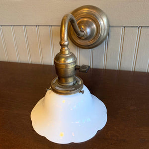 Early 20th Century Brass Milk Glass Wall Sconce Lamp