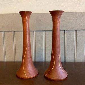 Mid-Century Modern Hand-Turned Teak Candlestick Holder