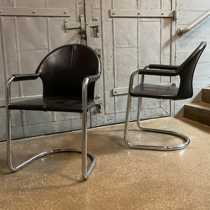 Italian Mid Century Modern Leather And Chrome Cantilever Armchairs