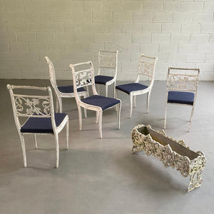 Hollywood Regency Cast Aluminum and Zinc Patio Garden Dining Chairs
