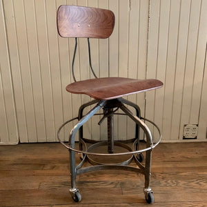 Adjustable Industrial Brushed Steel Toledo Factory Stool