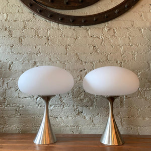 Pair Of Brushed Aluminum Mushroom Table Lamps by Bill Curry for Laurel