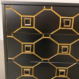 Hollywood Regency Black and Gold Dresser