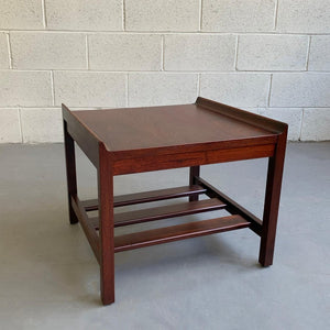Mid Century Modern Low Upturned Walnut Side Table By Lane