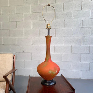 Large Mid Century Modern Brutalist Art Pottery Table Lamp