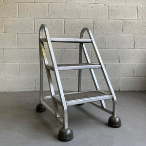 Industrial Machine-Age Aluminum A-Frame Ladder
