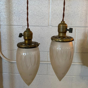 Industrial Etched Glass Teardrop Pendant Lights