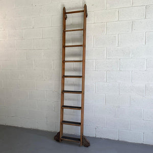 Industrial Rolling Oak Library Ladder by Putnam