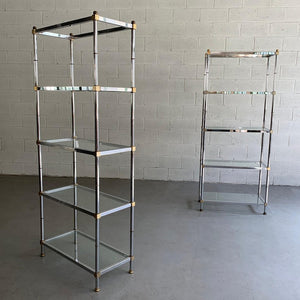 Mid Century Modern Chrome And Brass Etageres