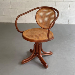 Bentwood Rattan Swivel Chair, Model 5501 By Thonet For ZPM Radomsko