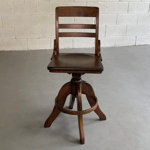 Industrial Maple Adjustable Swivel Drafting Stool