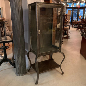Antique Industrial Brushed Steel Apothecary Display Cabinet