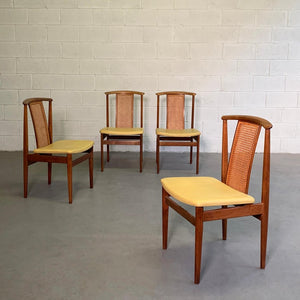 Danish Modern High Cane Back Teak Dining Chairs