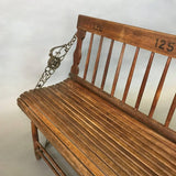 Antique Oak Folding Gym Bench