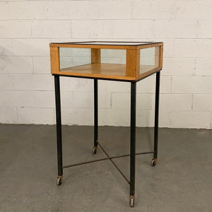 Industrial Oak Jewelry Display Case