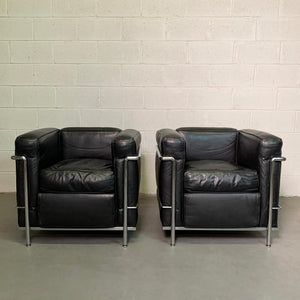 Leather and Chrome LC2 Club Chairs by Le Corbusier for Cassina