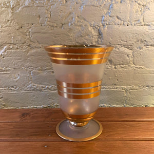 Gilt And Frosted Glass Decorative Vase