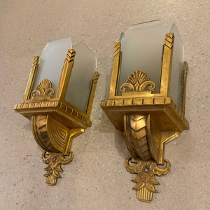 Pair Of Art Deco Brass and Frosted Glass Wall Sconce Lights