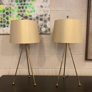 Pair Of Mid Century Modern Brass Tripod Table Lamps