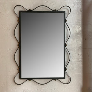 Wrought Iron Ribbon Wall Mirror Attributed to Jean Royere