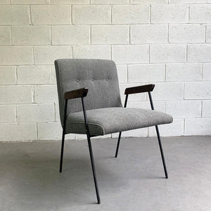 Wrought Iron Upholstered Armchair Attributed To Milo Baughman, Pacific Iron