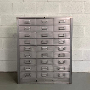 Industrial Midcentury Brushed Steel Office Document Cabinet