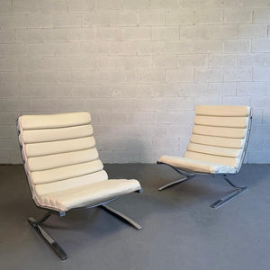 Design Institute America High Back Chrome Cantilever Lounge Chairs