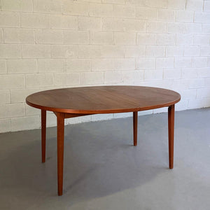 Danish Modern Teak Oval Extension Dining Table