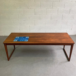 Danish Modern Rosewood Coffee Table With Ceramic Inlay