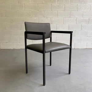Mid Century Modern Steel Frame Leather Armchair