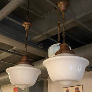 Art Deco Milk Glass And Brass Library Pendants