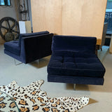 Pair of Vladimir Kagan Velvet Lounge Slipper Chairs With Lucite X Bases