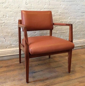 Rare Jens Risom Leather Armchair