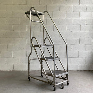 Tall Industrial Machine-Age Rolling Aluminum Ladder
