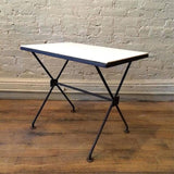 Iron And Milk Glass Side Table