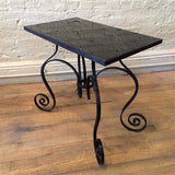 Scrolled Wrought Iron Side Table
