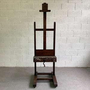 Antique Crank Adjustable Oak Artist Easel