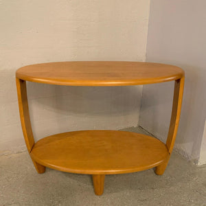 Heywood Wakefield Oval Tiered Birch Side Table